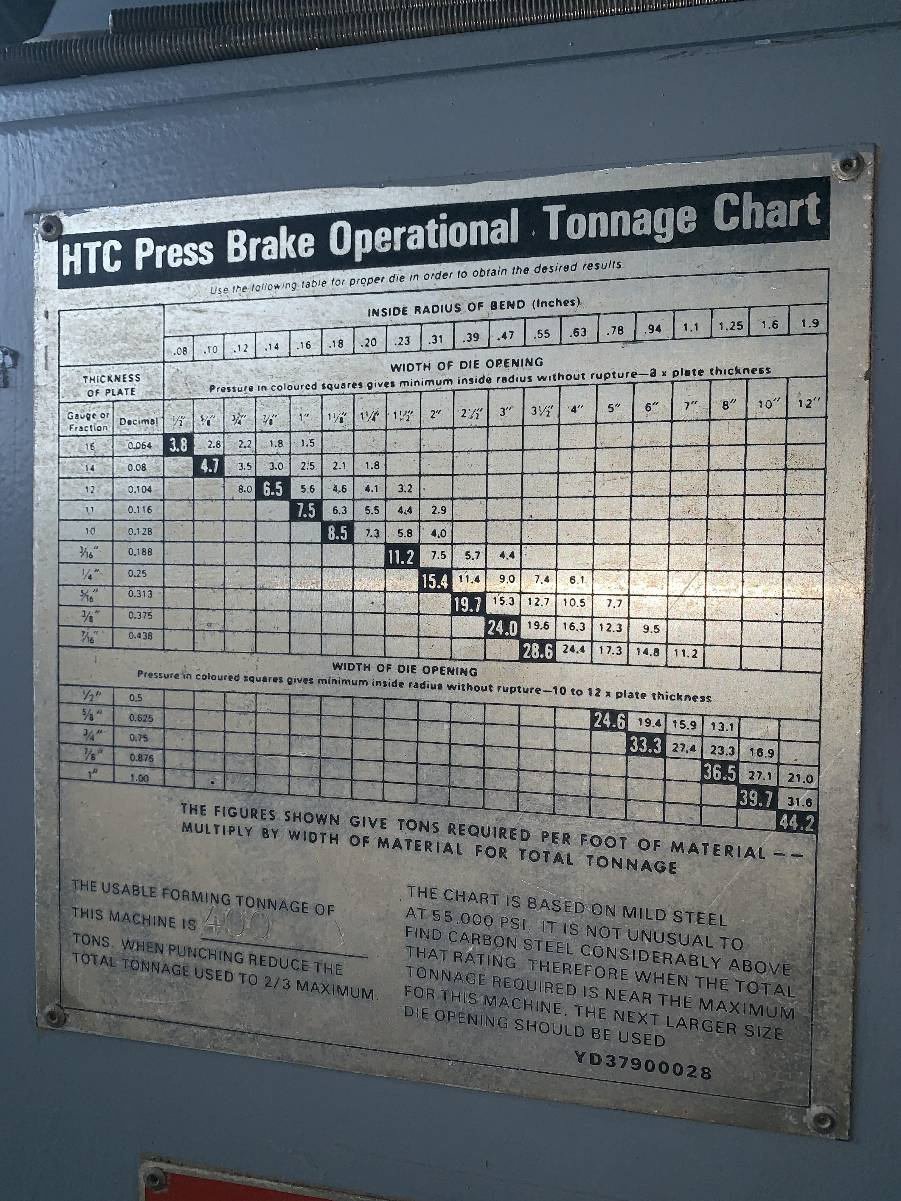 400 TON x 12' HTC MODEL 400-12H HYDRAULIC PRESS BRAKE: STOCK #10320