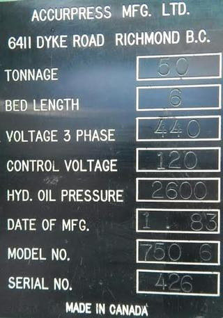 50 Ton Accurpress 750.6 Hydraulic Press Brake, 6'