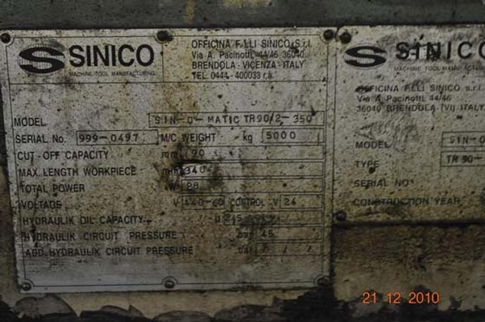 "3.58"" Sinico Cut Off & End Finisher"