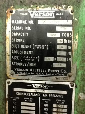 300 Ton Verson S2-300-108-54 SSDC Press