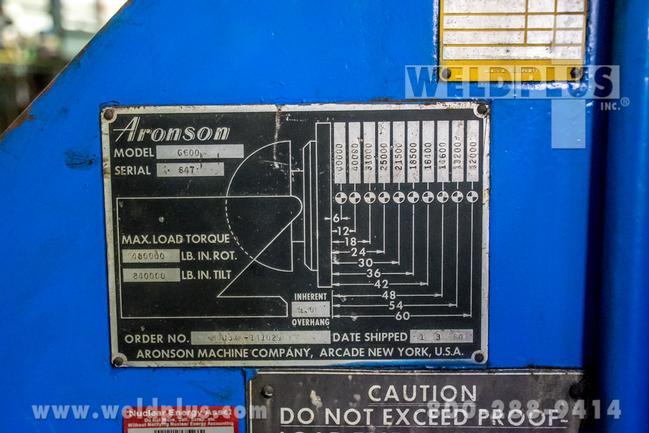 40,000 Lb. Aronson Model G-600 Positioner, 12' Diameter Round Table, 35' Pendant Control