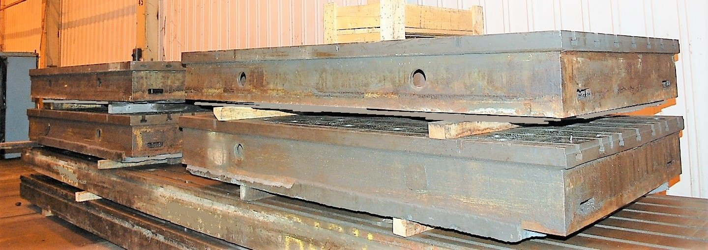 """69"""" x 118"""" T-Slotted Floor Plates, 14"""" Thick, Cast Iron, (4) Available, Matched, #30291"""