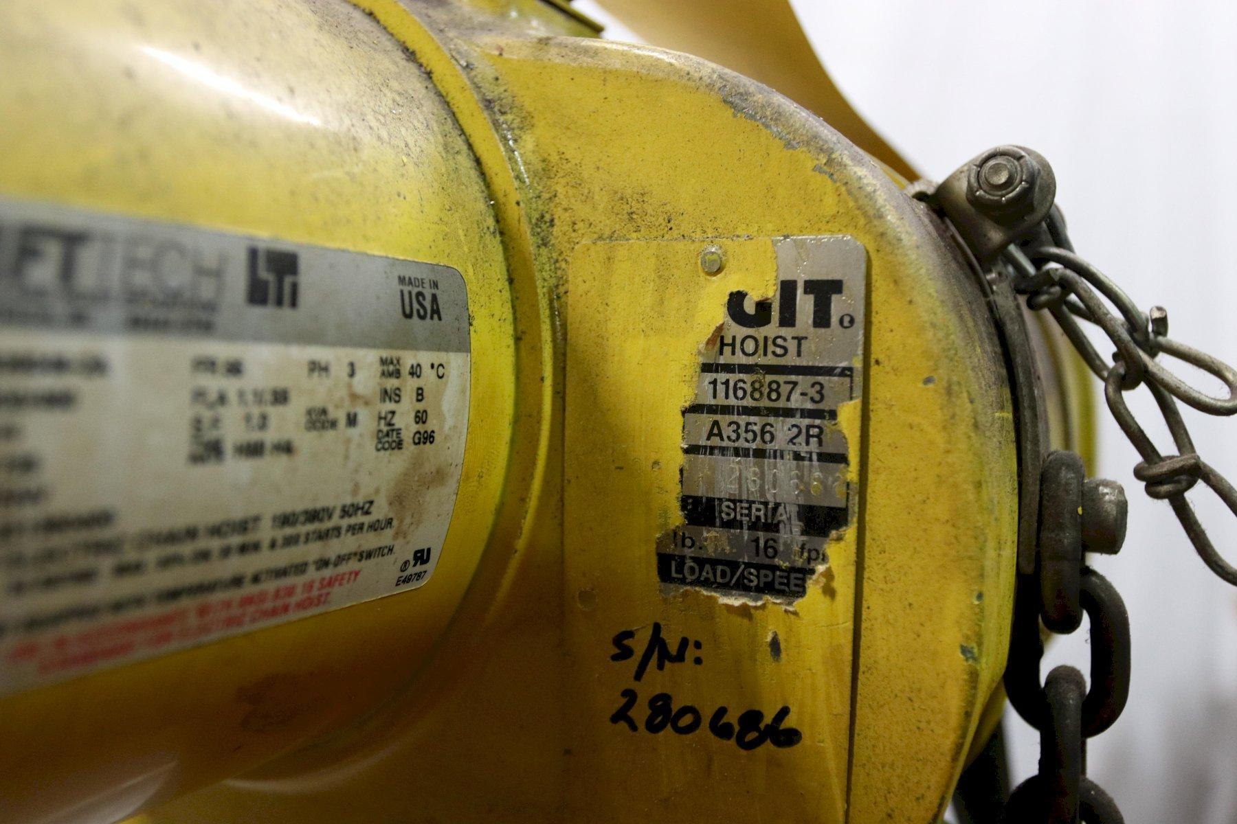 1/4 TON BUDGIT ELECTRIC POWERED CHAIN HOIST: STOCK #12000