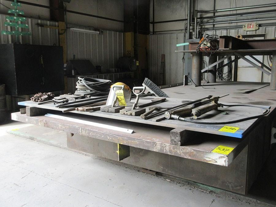 """97"""" X 241"""" STEEL LAYOUT TABLE WITH 3"""" PLATE TOP: STOCK 11833"""