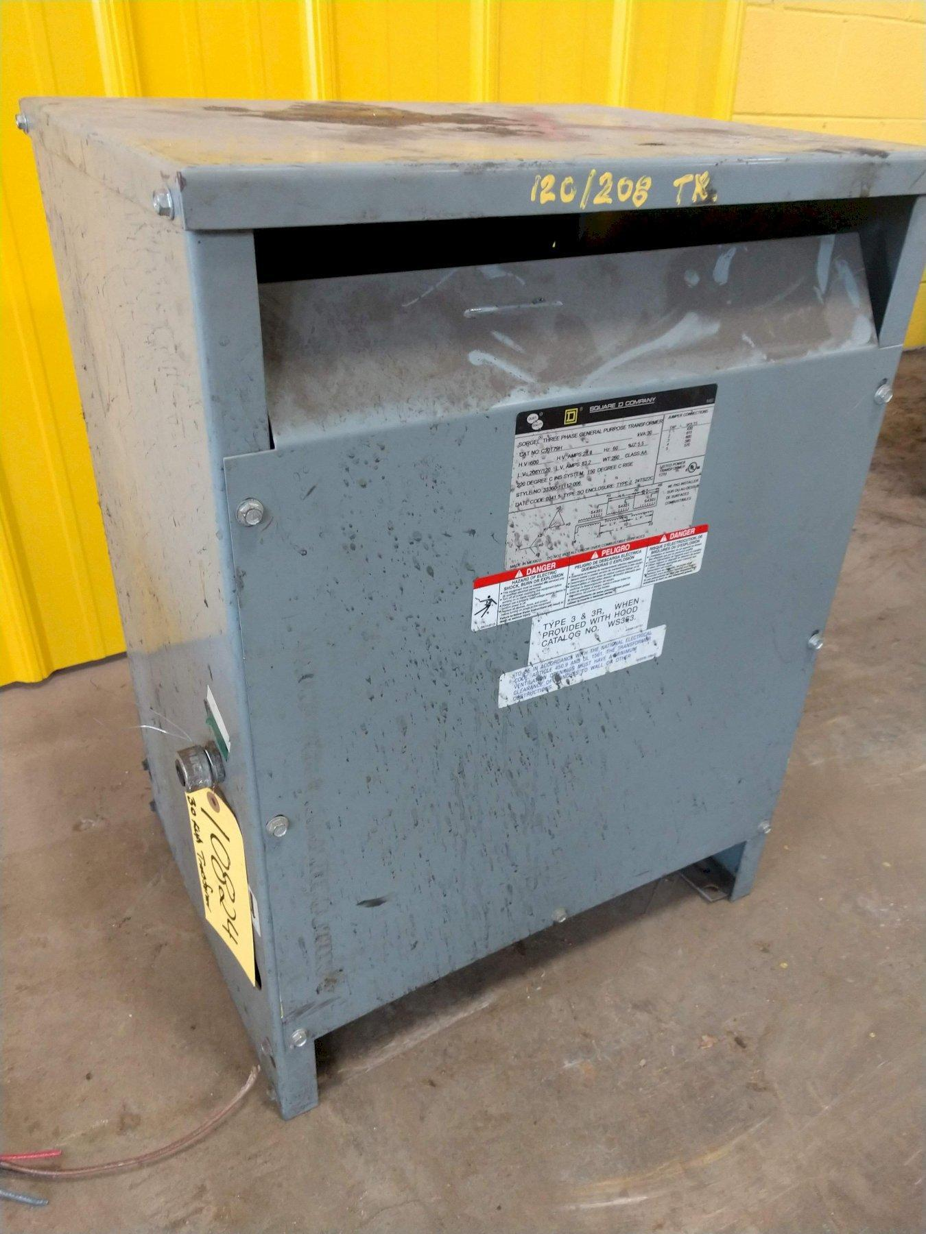 30 KVA SORGEL THREE PHASE 600 TO 208Y/120 VOLT ELECTRICAL TRANSFORMER: STOCK #10824