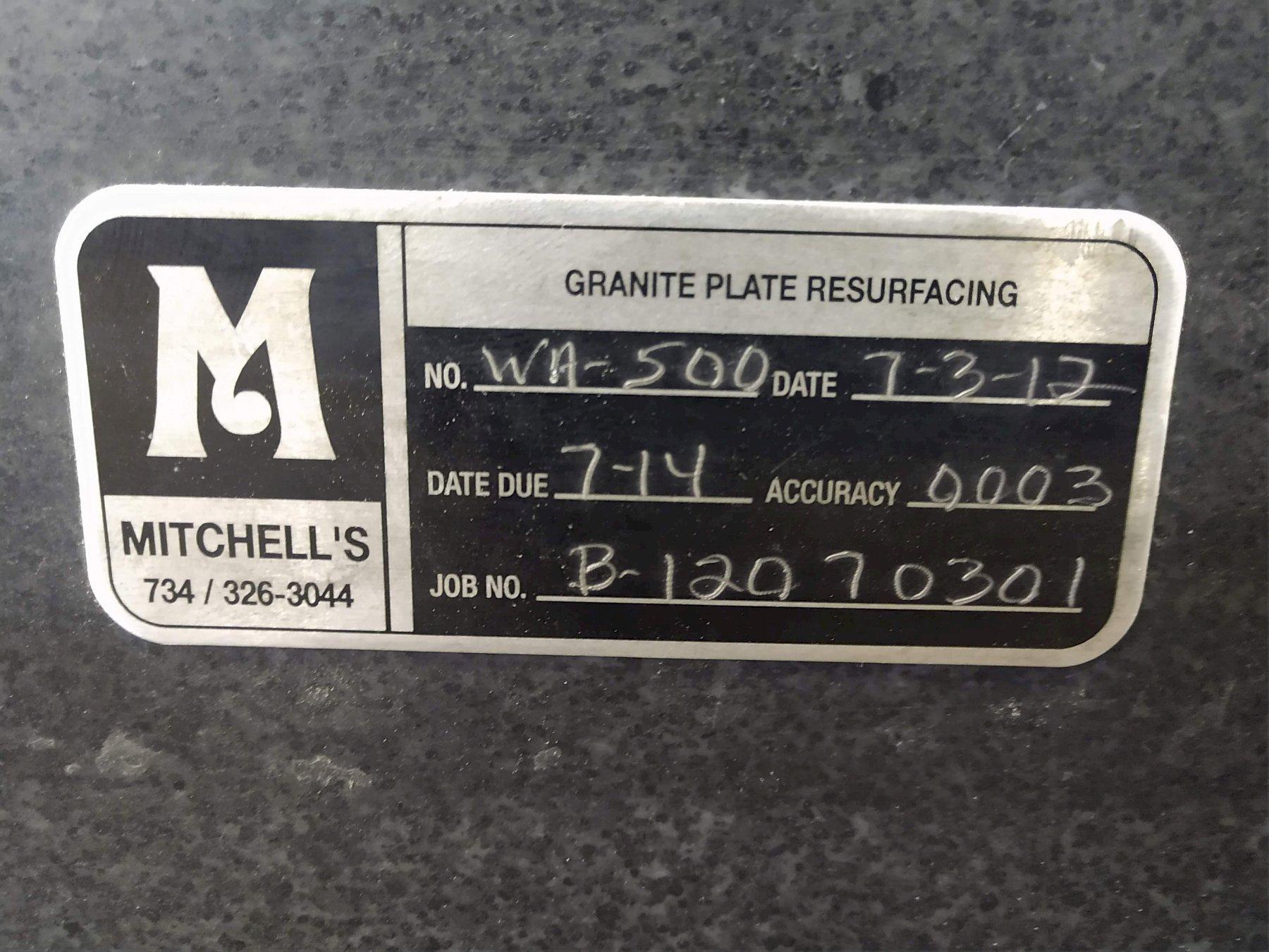 "72"" x 48"" x 8.5"" BLACK GRANITE INSPECTION TABLE PLATE: STOCK 13634"