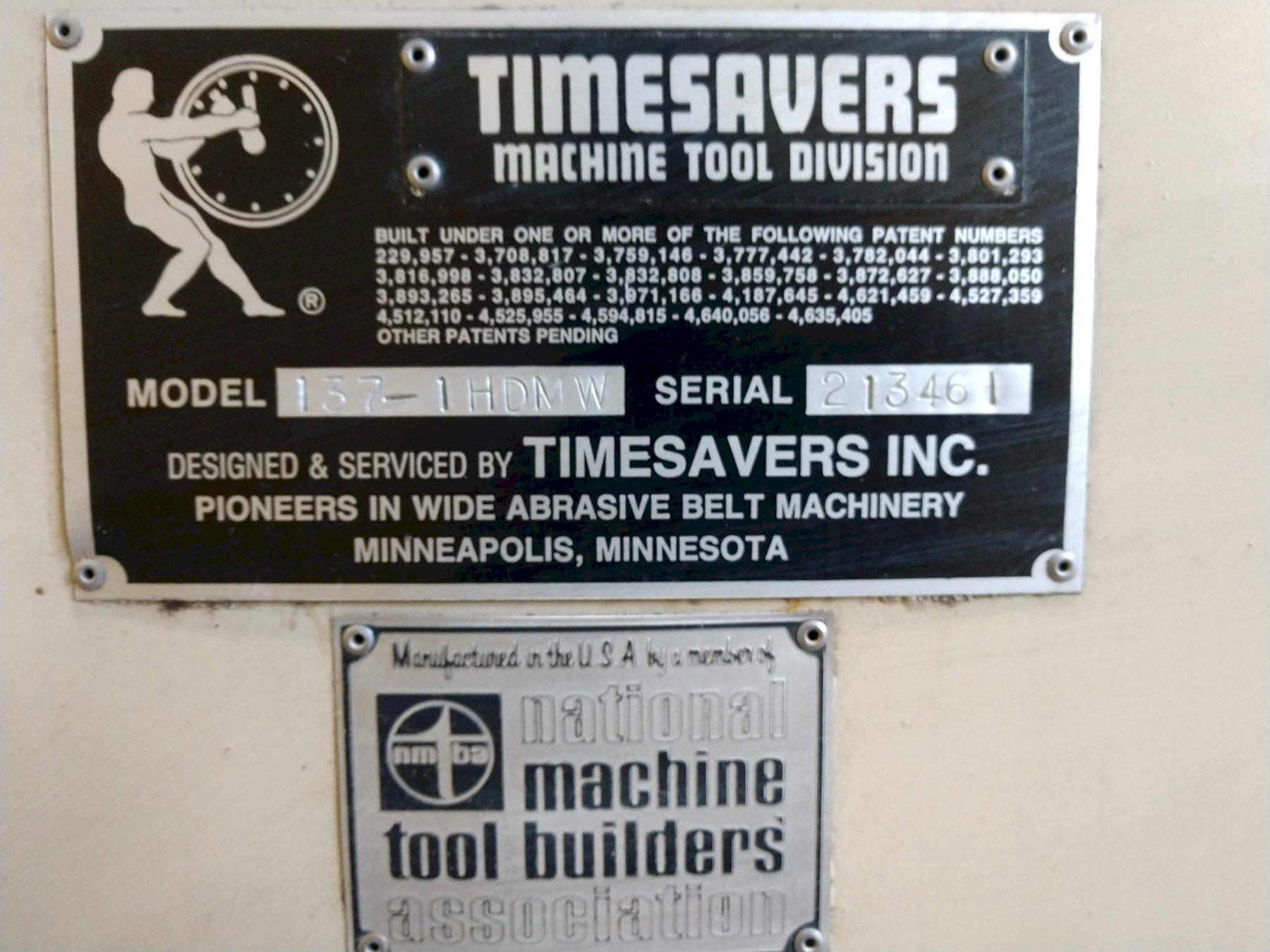 """37"""" TIMESAVER MODEL #137-1HDMW """"WET TYPE"""" BELT GRINDER / SANDER: STOCK 13189"""