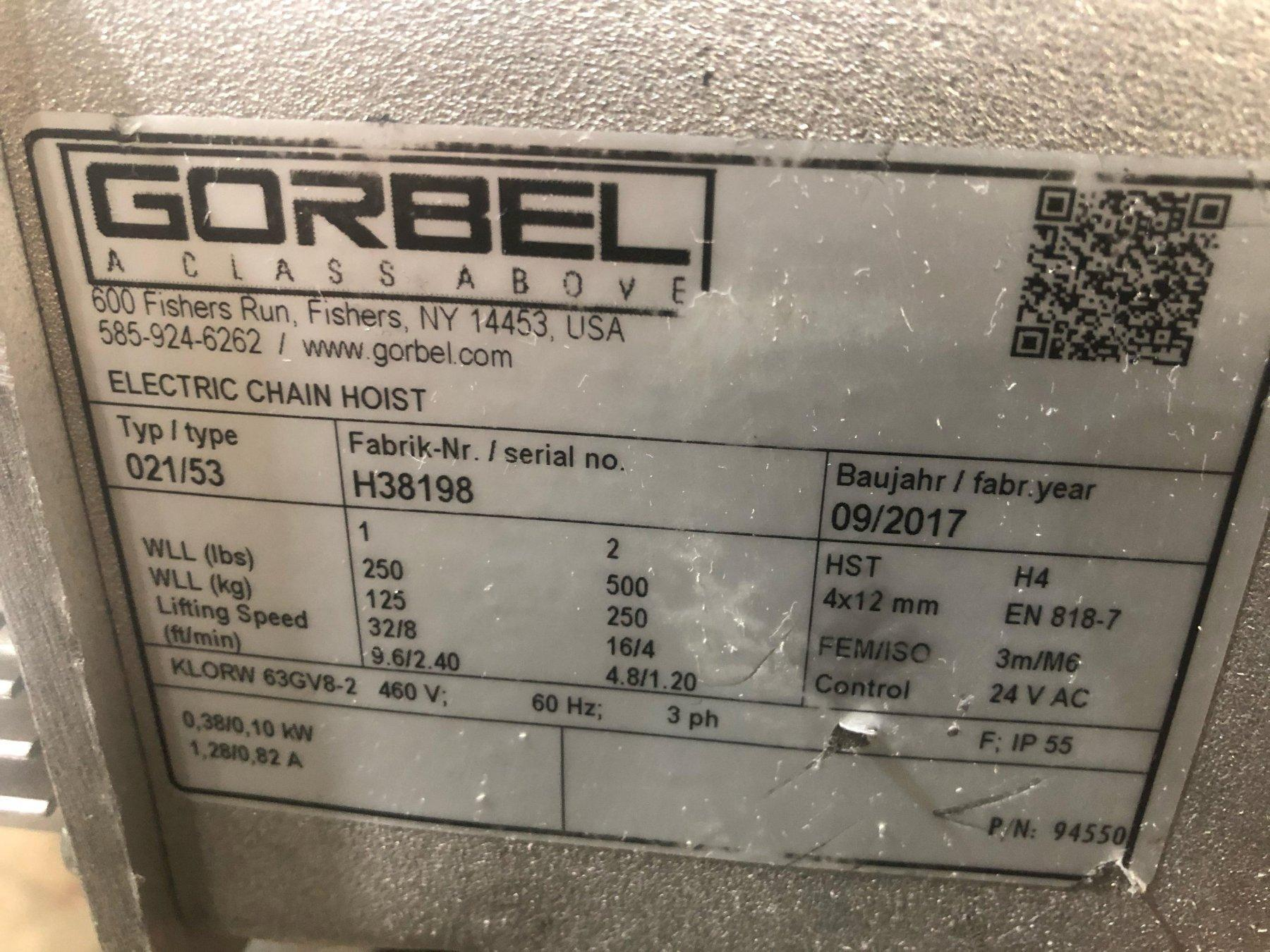 1/4 TON GORBEL ELECTRIC CHAIN HOIST: STOCK #13936