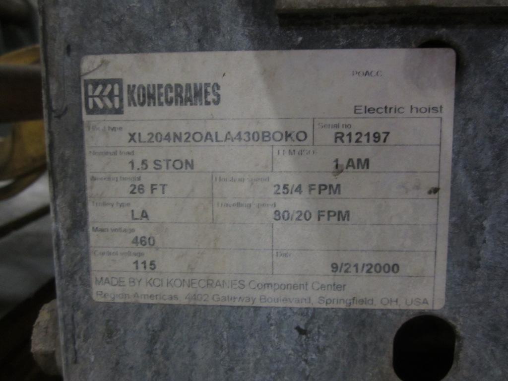 1.5 TON HOIST X 24' 2 TON KONE UNDERSLUNG CRANE: STOCK #51776
