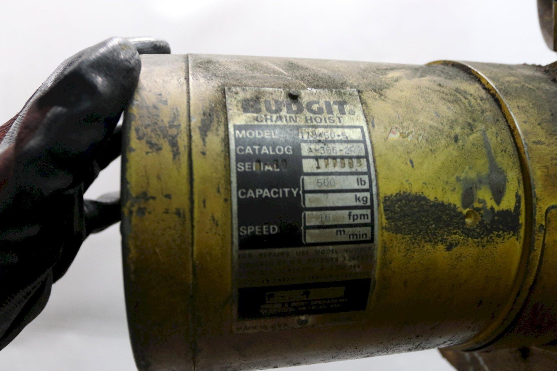 500 LB BUDGIT ELECTRIC POWERED CHAIN HOIST: STOCK #11967