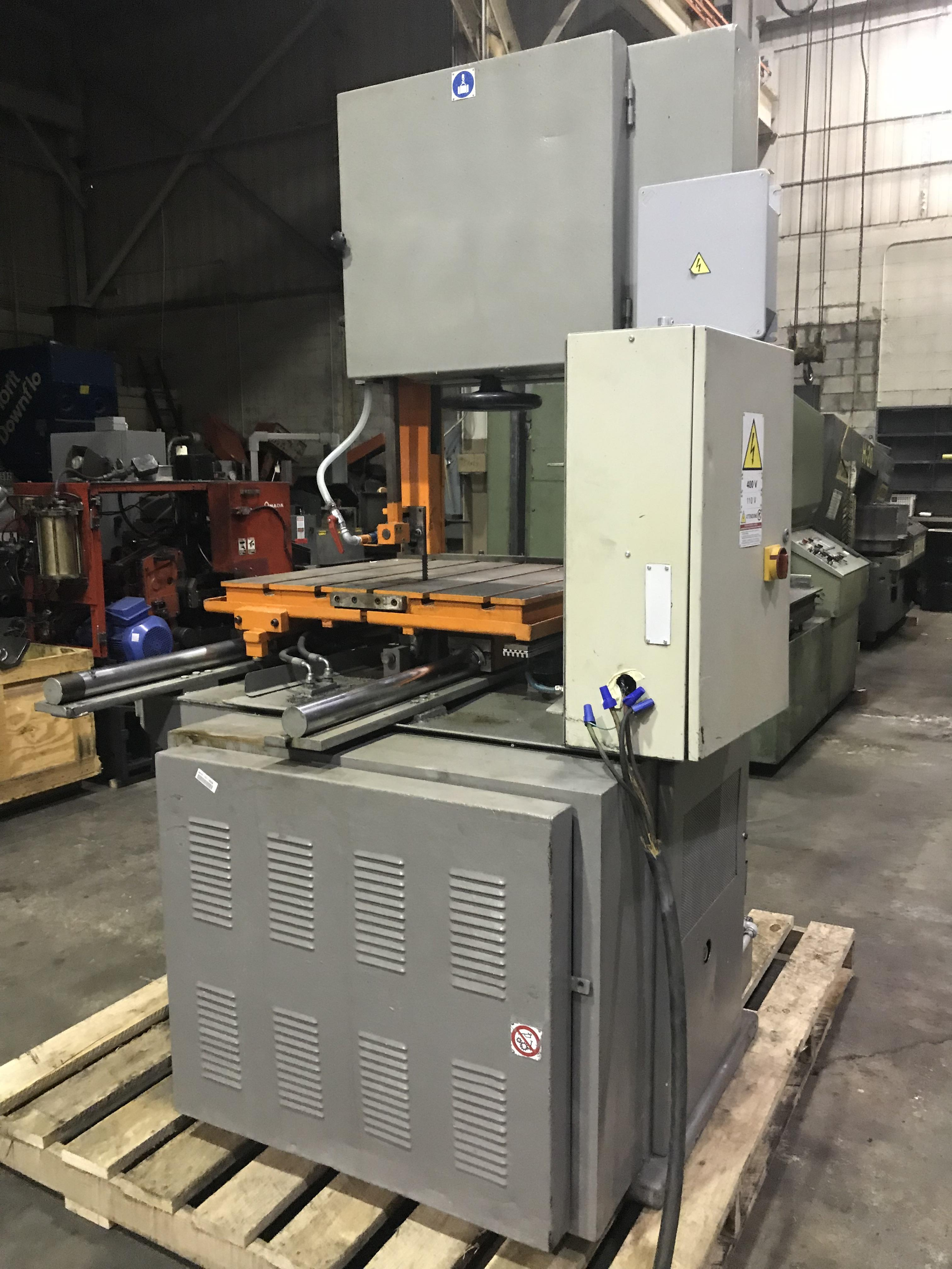 USED FRIGGI MODEL 104FG 500 POWERED TABLE HEAVY DUTY VERTICAL BLOCK & PLATE SAW, YEAR 1999 STOCK