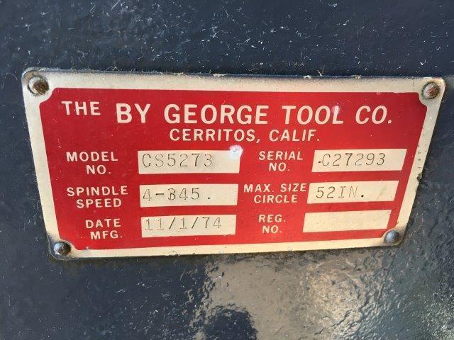 "BY GEORGE MODEL CS5273 POWERED CIRCLE SHEAR 1/4"" x 52"" DIA. [4548]"