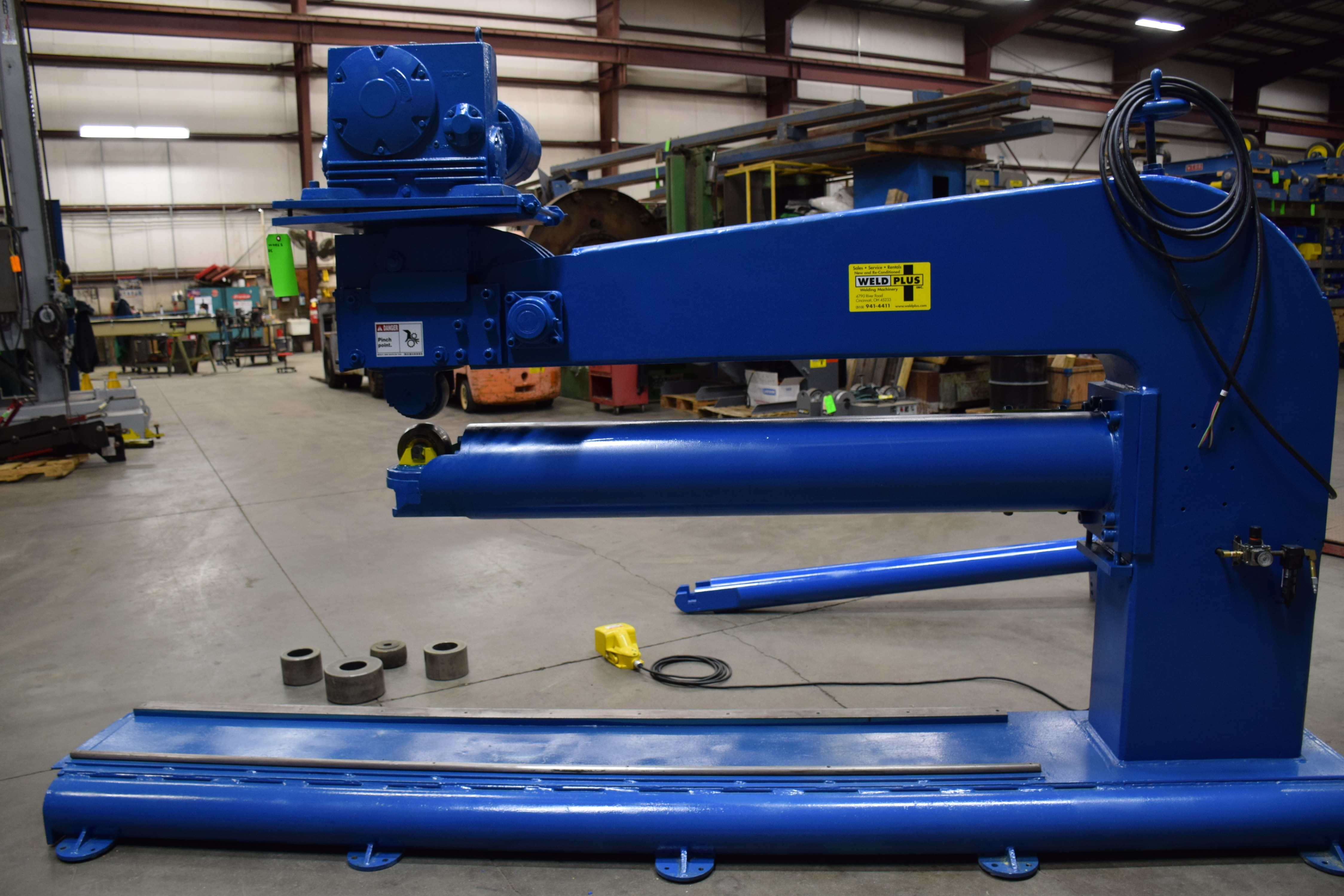"Airline Combination Gantry Planisher, 3"" To 36"" Dia, 2 Extra Sets of Rollers, 1 Flat, 1 Dome"