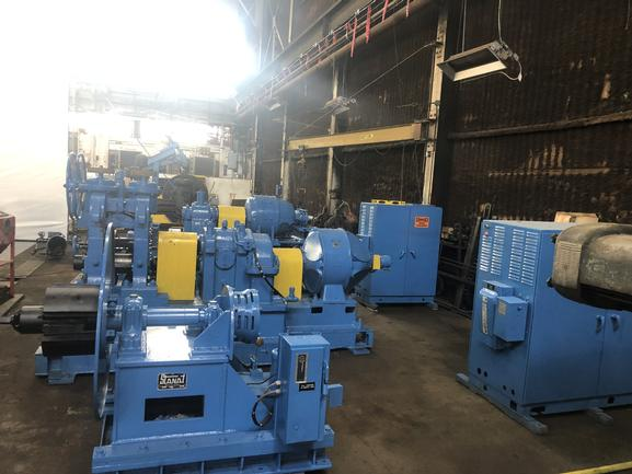"""10"""" X 2.5"""" X 10"""" Lewis, V/S Drives, Uncoiler, Tension Sys, Recoiler, Gauge Ctrl, In Operation"""