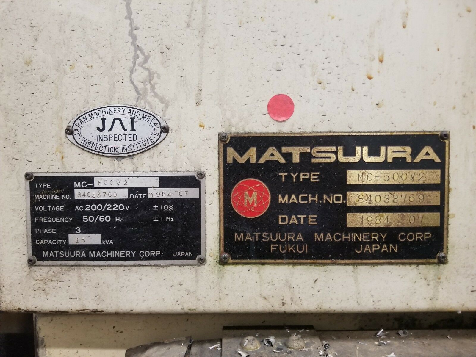 Type MC-500V2 on nameplate in back