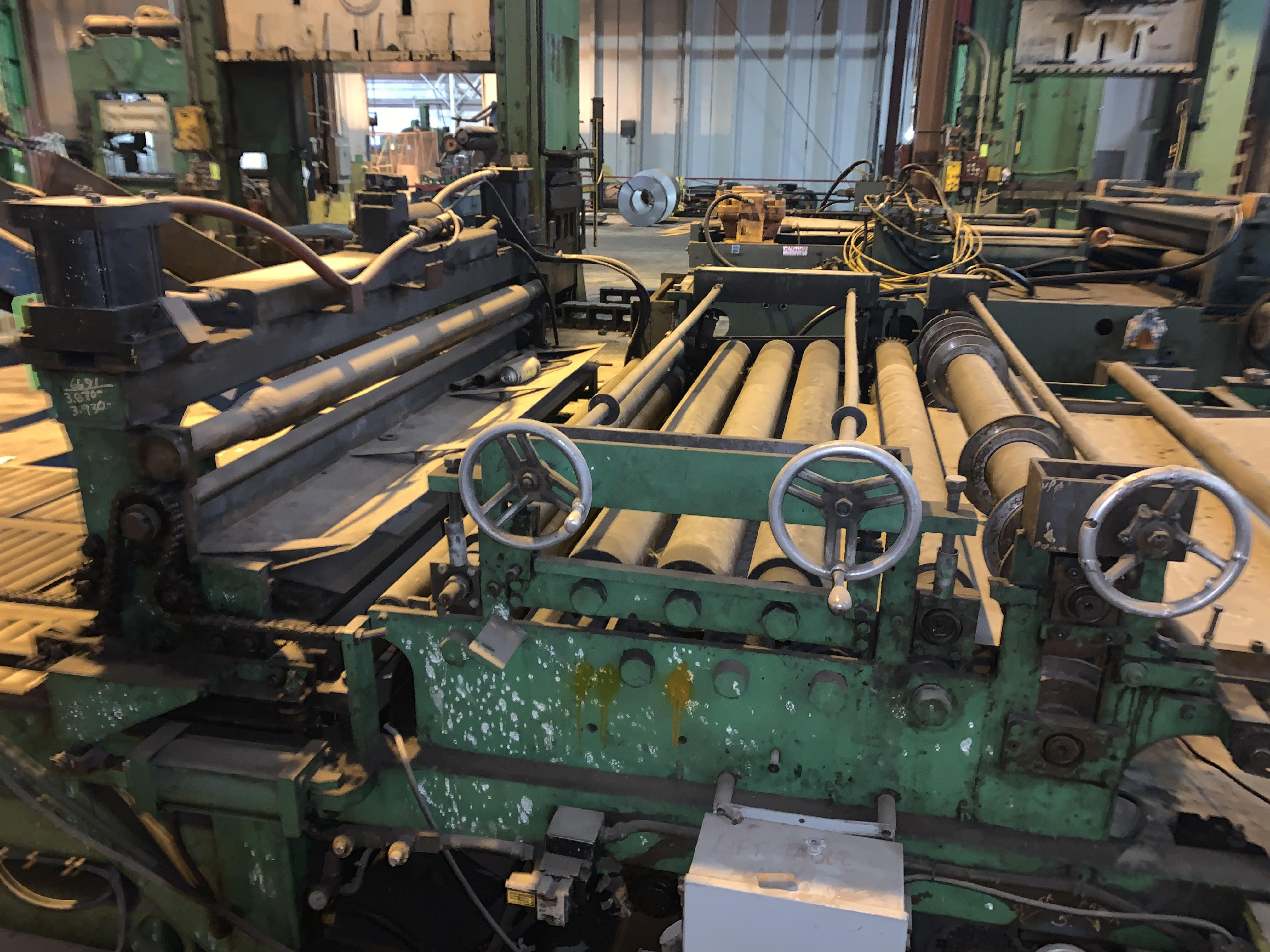 "72"" X 18 GAUGE WELTY WAY SLEAR AUTOMATIC BLANKING MACHINE WITH UNCOILER: STOCK #10014"