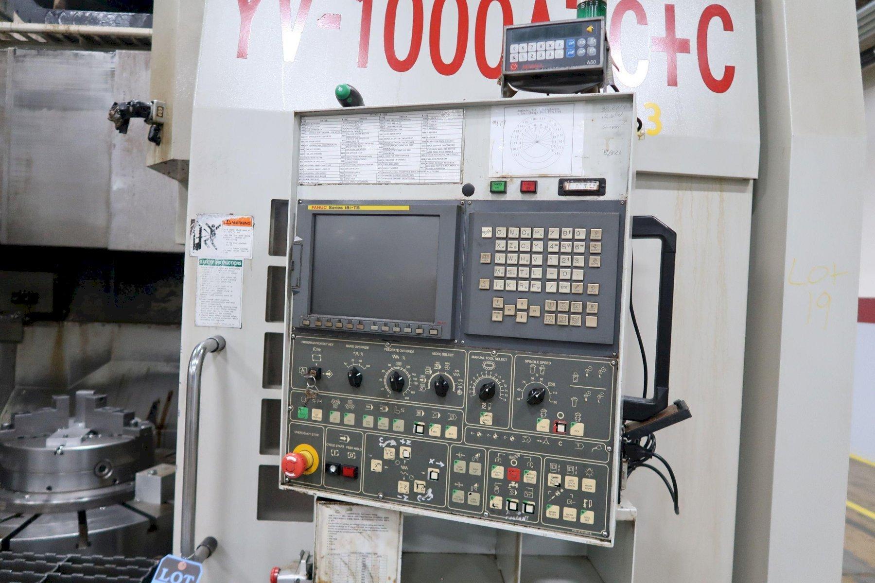 "You Ji YV1000ATC+C CNC Vertical Lathe w/Milling, Fanuc 18i-TC, 20"" Chuck, 39.4"" Table Dia, 53"" S"