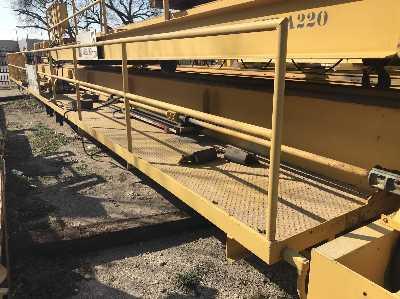 30 TON (15/15) X 75' LANDALL DUAL HOIST OVERHEAD BRIDGE CRANE: STOCK #10501
