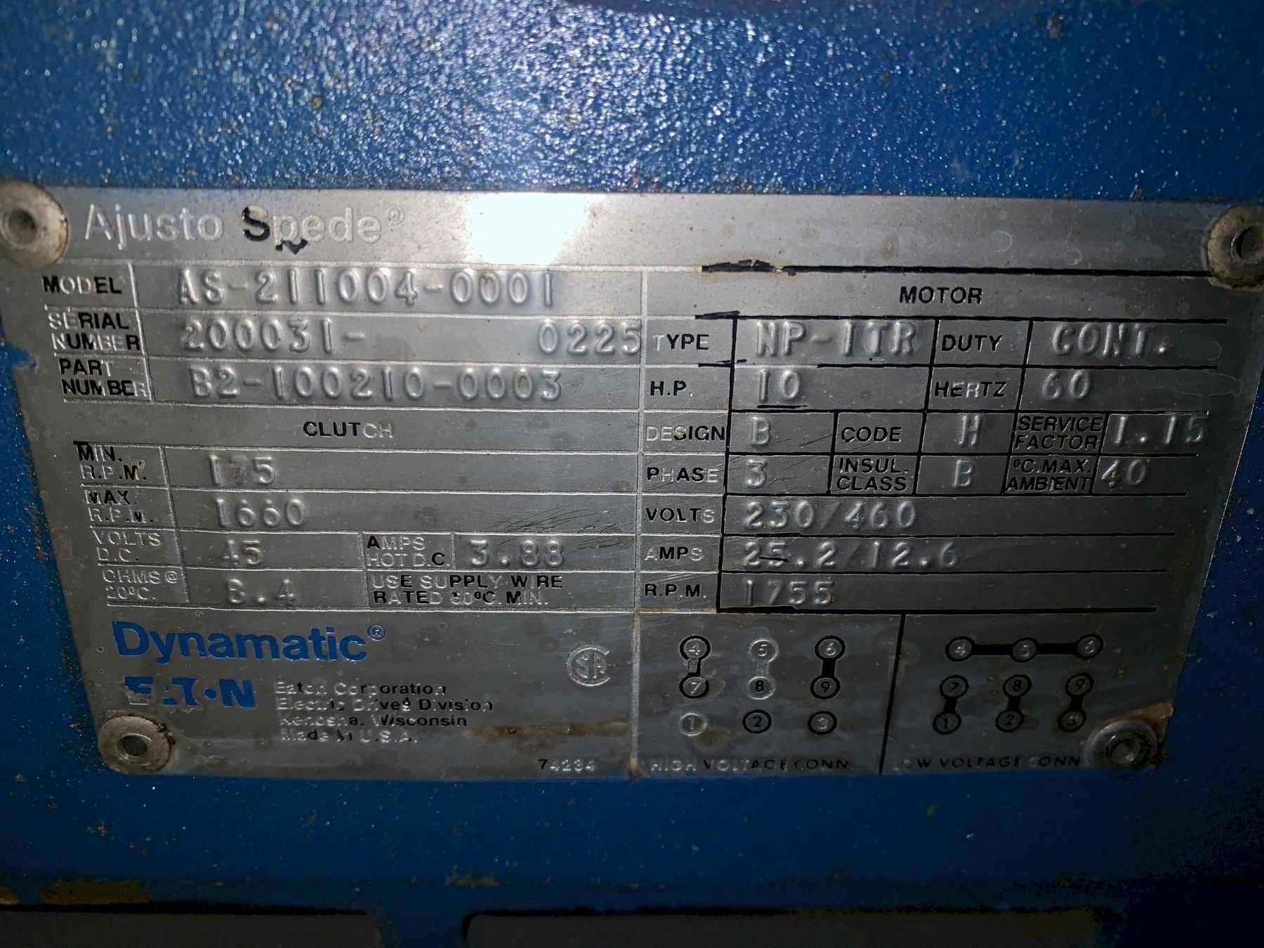 10 HP DYNAMATIC TYPE NP-ITR / MODEL B2-100210-0003 ADJUSTO SPEED MOTOR: STOCK #11927
