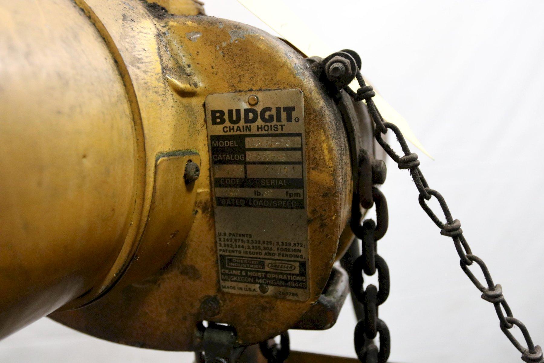 1/4 TON BUDGIT ELECTRIC POWERED CHAIN HOIST: STOCK #11980
