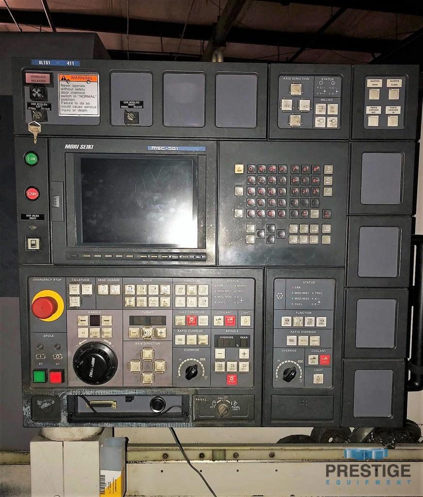 """Mori Seiki DL-151Y , 11"""" Swing, 38.8"""" C.C, 5000 RPM, Main/Sub Spdl, C-Axis, Y-Axis, Milling, Mori MSC-501, 2000, #31293"""