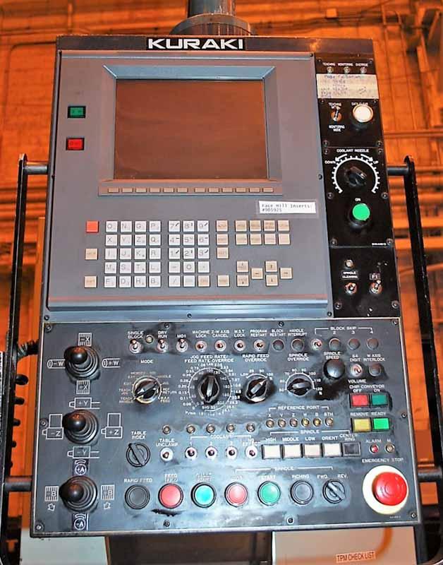 """5.12"""" Kuraki #KBT-13A, Fanuc 16M CNC, 63""""X71""""Tbl, 27.56""""Spdl Tvl, 51.18""""Ross, 5-2500 RPM, #50, 1998"""