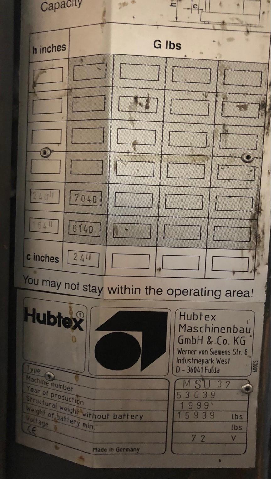 HUBTEX MSU 37 FORKLIFT SIDE LOADER: STOCK #11522
