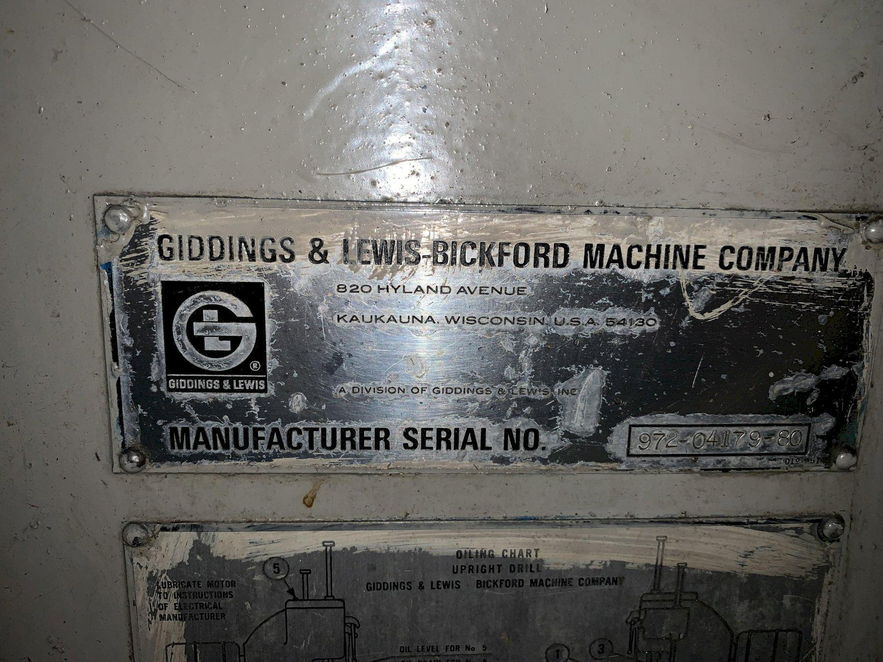 "24"" GIDDINGS & LEWIS BICKFORD MODEL 25A-64346 SINGLE SPINDLE VERTICAL DRILL: STOCK #11435"