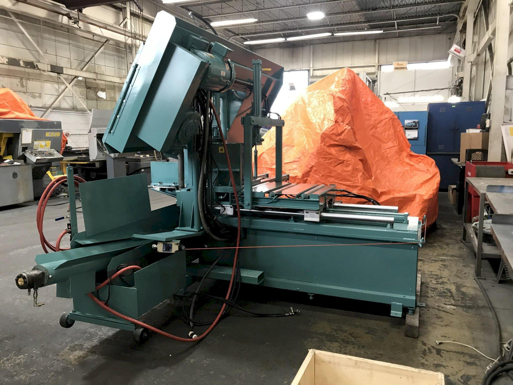 "Used W.F. WELLS DUAL POST FULLY AUTOMATIC HORIZONTAL BANDSAW, Model F-1620 CNC, 16"" x 20"", Stock"