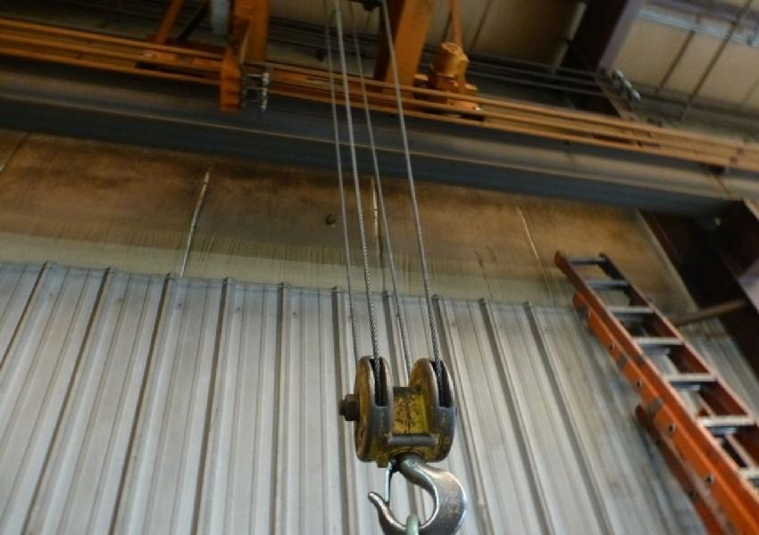 "5 TON X 36' 2"" HARRINGTON TOP RUNNING OVERHEAD BRIDGE CRANE: STOCK #13334"