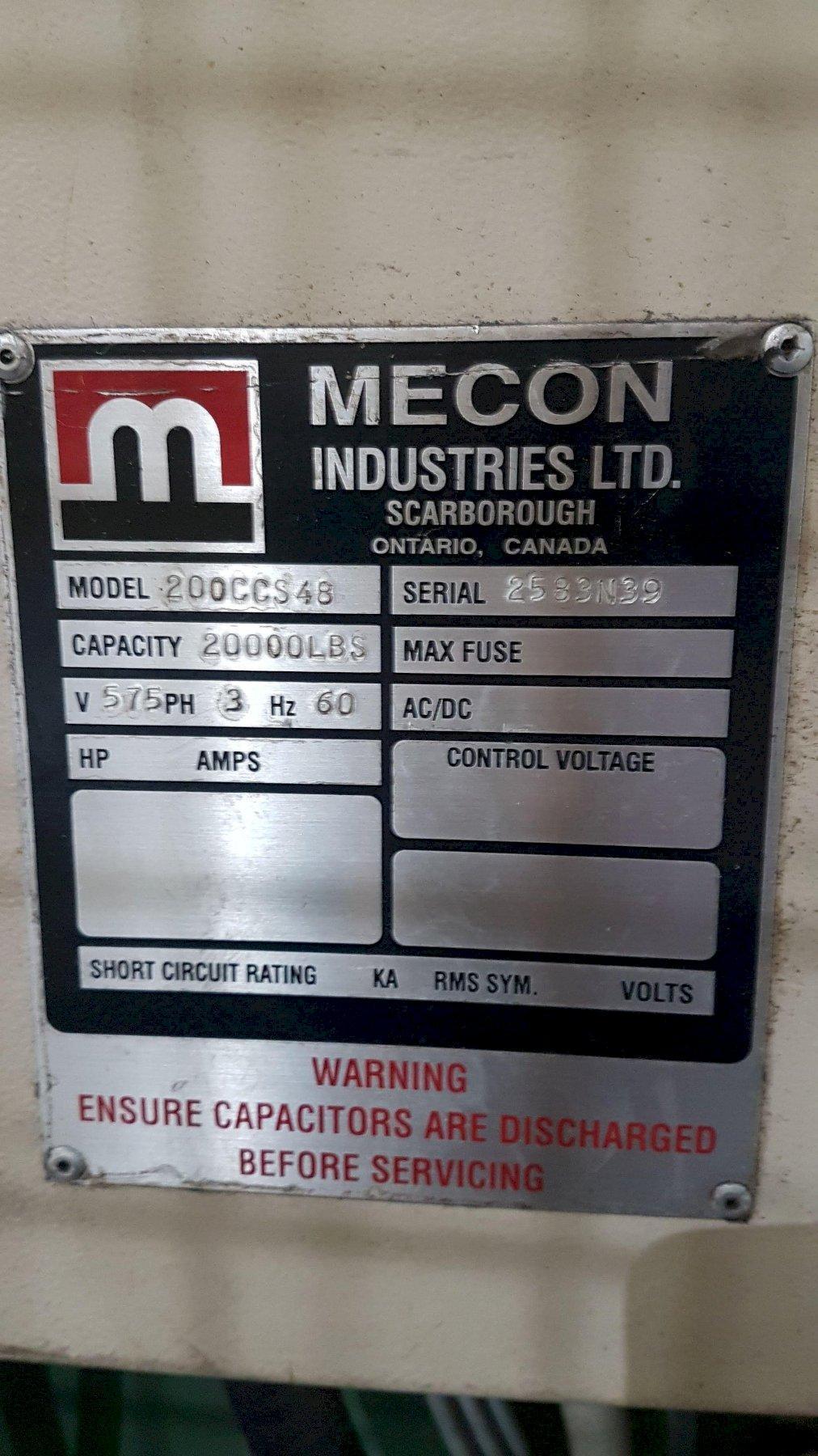 20,000 lbs Mecon Cradle Straightener Servo Feed Line