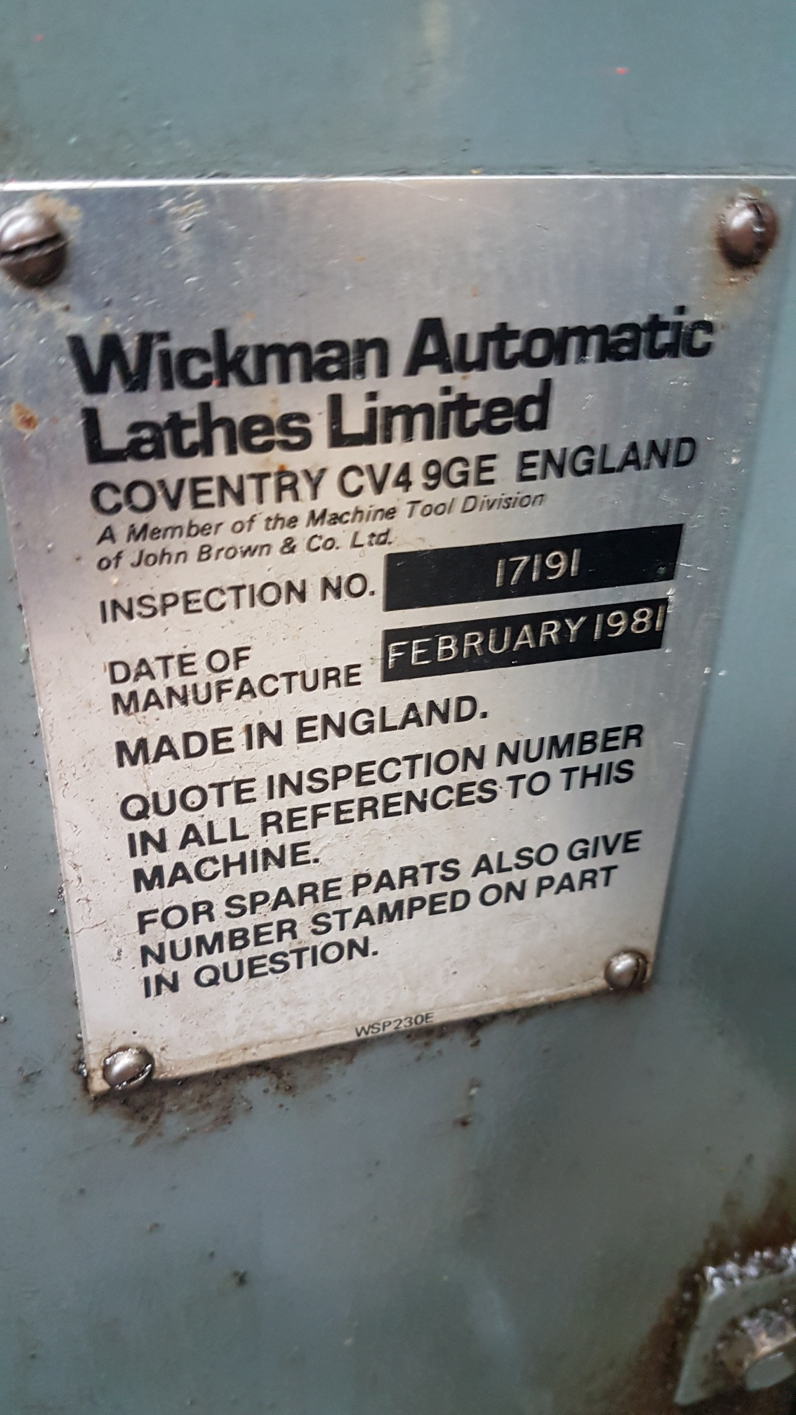 """Wickman 1 3/4"""" - 6 spindle multi,  Electric clutch Excellent drum and centre tool block Electric coolant Fully enclosed guarding Chip conveyor Stock reel and stand"""
