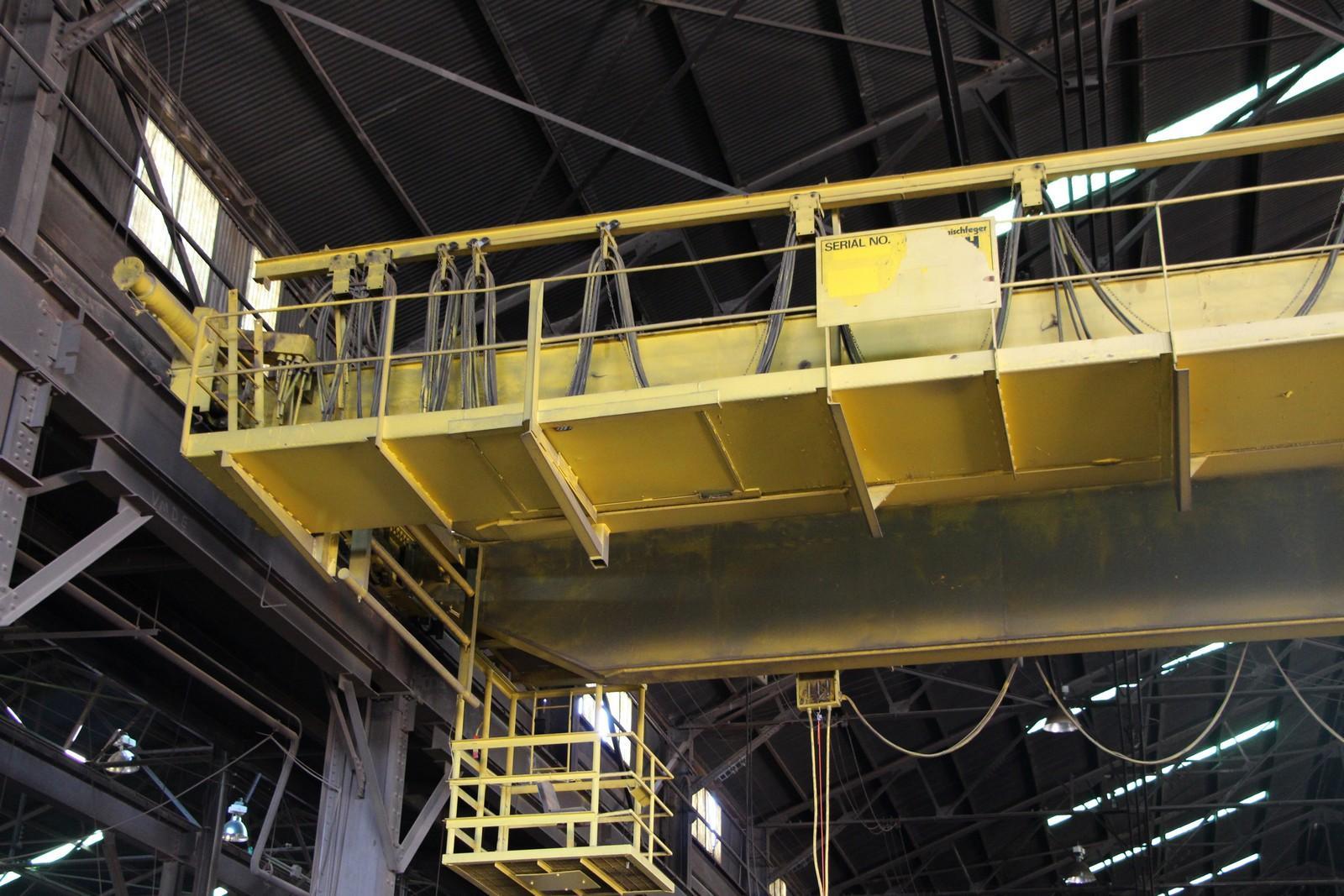 40 TON X 75' P & H OVERHEAD DOUBLE GIRDER BRIDGE CRANE: STOCK #10886