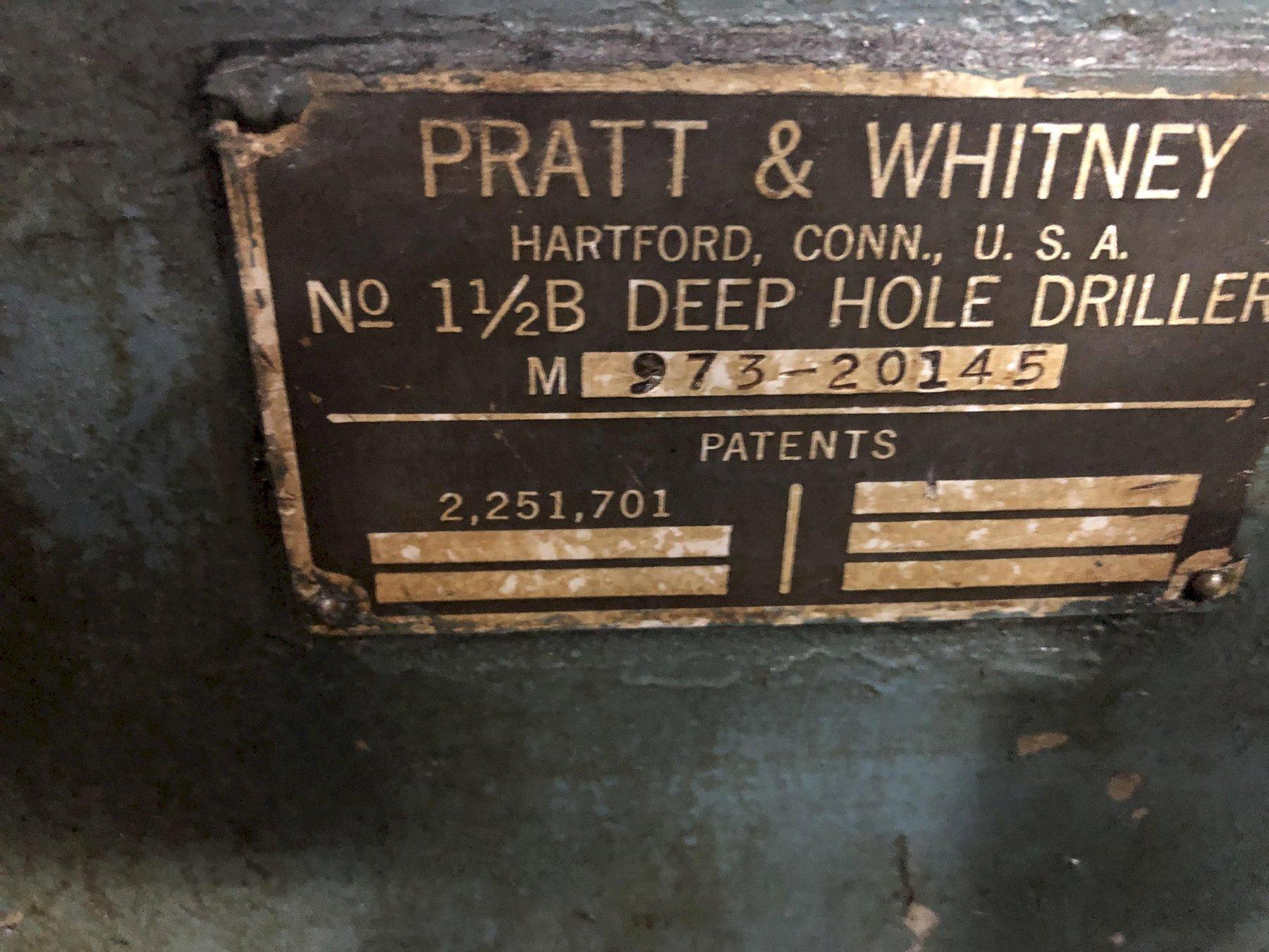 "1 ½B x 81"" Pratt & Whitney Deep Hole Drilling Machine"