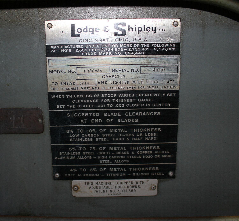 "Lodge & Shipley 0306- AB 3/16"" x 6'  Power Shear #5906"