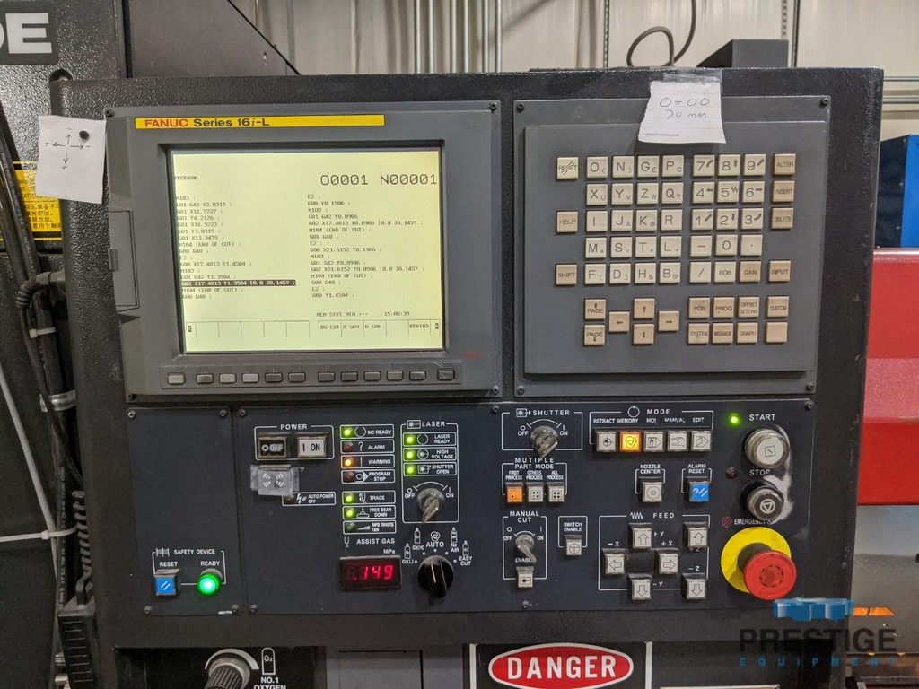 "2000 Watt Amada Quatro 49.6"" x 49.6"" travel, Fanuc AF2000E CO2, 2008 #31019"