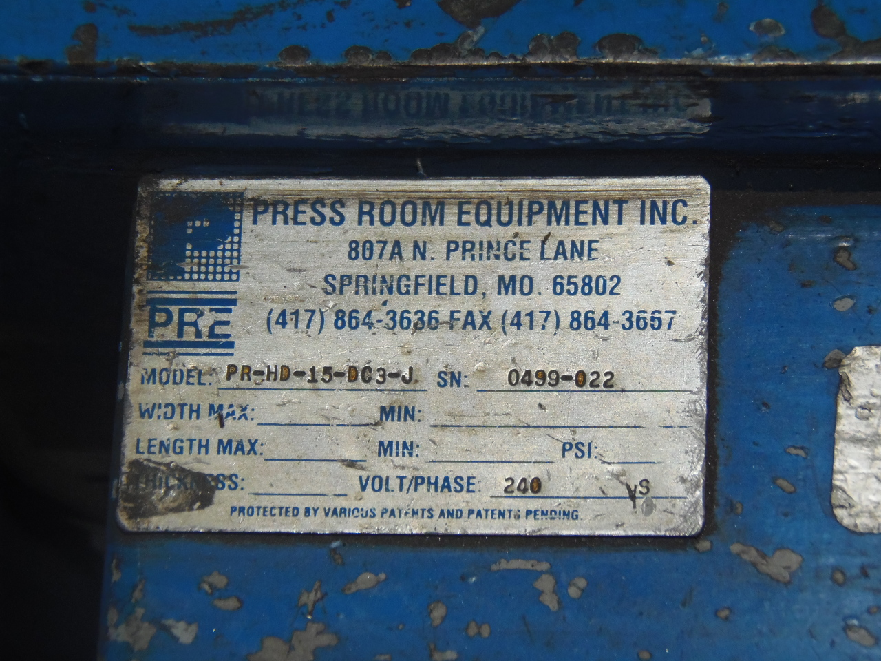 "15"" X 180"" 11 ROLL PRE STRAIGHTENER, MODEL PRIMO PRHD-15-DC3-J, NEW 1999"