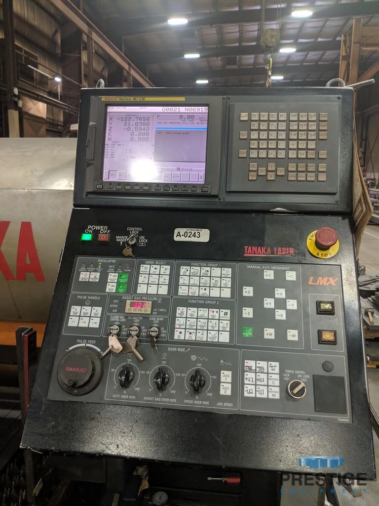 """Tanaka LMXVIIZ30, 6000 Watt, X-520"""", Y-120"""", Fanuc 16iL CNC, Bevel Head, Auto Height Control, 2008, #31285"""