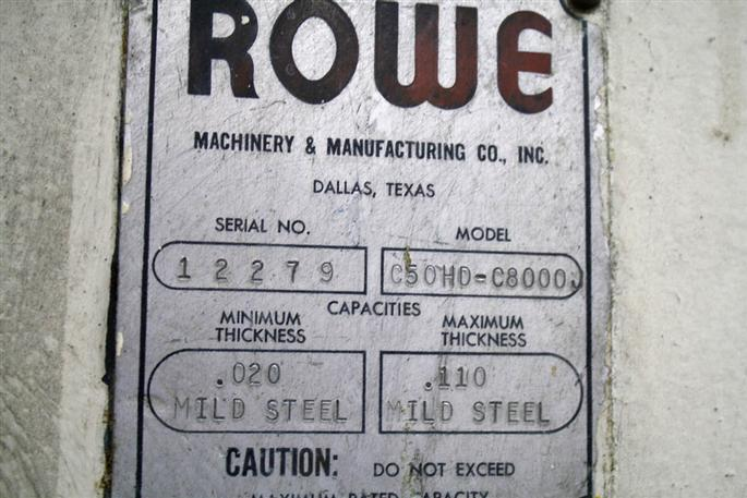 "8500 Lb. Rowe .110"" X 50"" Coil Cradle Straightener, Stock #53487"