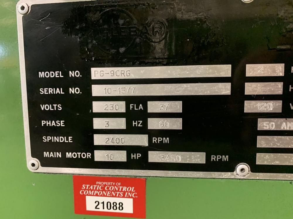 """2"""" X 15 HP GLEBAR MODEL #PG-9CRG CNC PLUNGER GRINDER: STOCK #10387"""