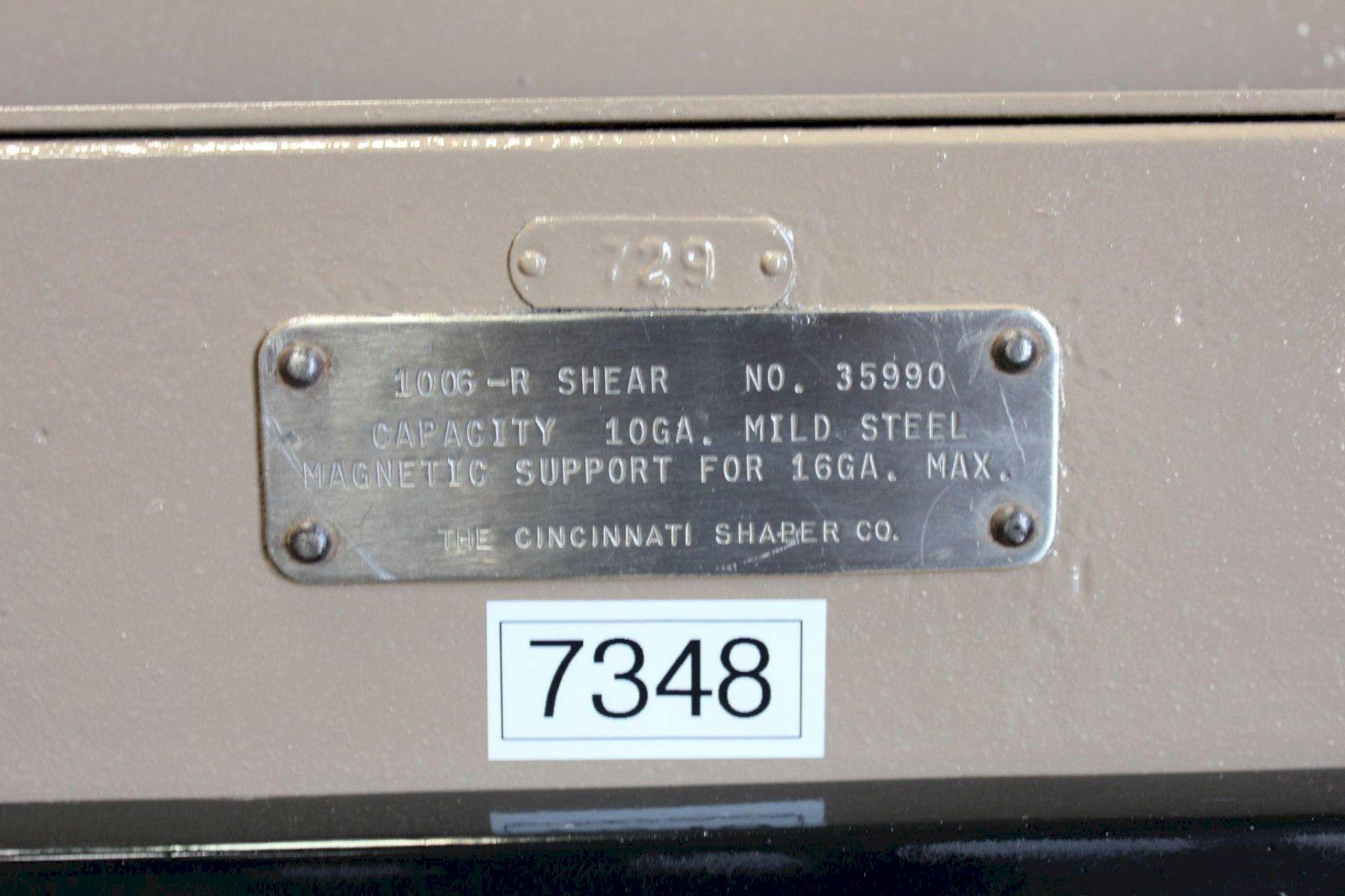 Cincinnati Power Shear 10 Ga. x 6' #5905