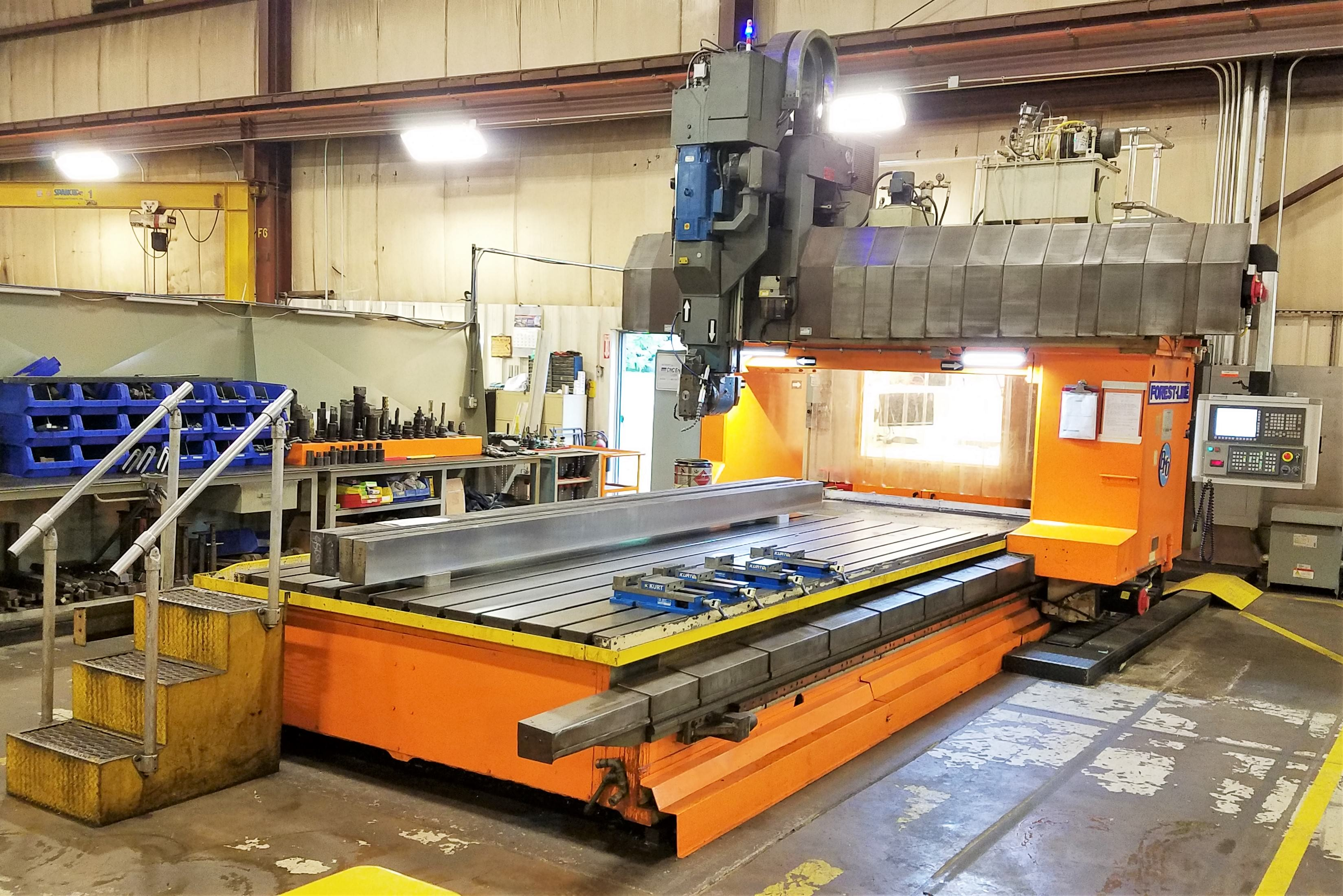 """Forest Line Major Mill, Travelling Gantry, Universal Head, X-168"""", Y-94"""", 100 HP, 3,250 RPM, Fanuc Oi, #31389"""