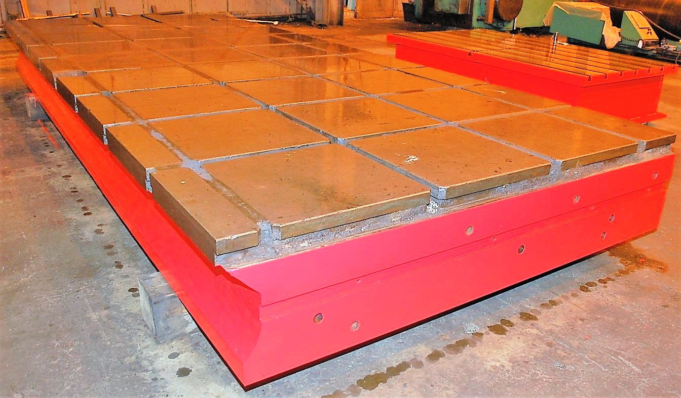 "(2) 90"" x 215"" x 19"" T-Slotted Cast Iron Floor Plates"