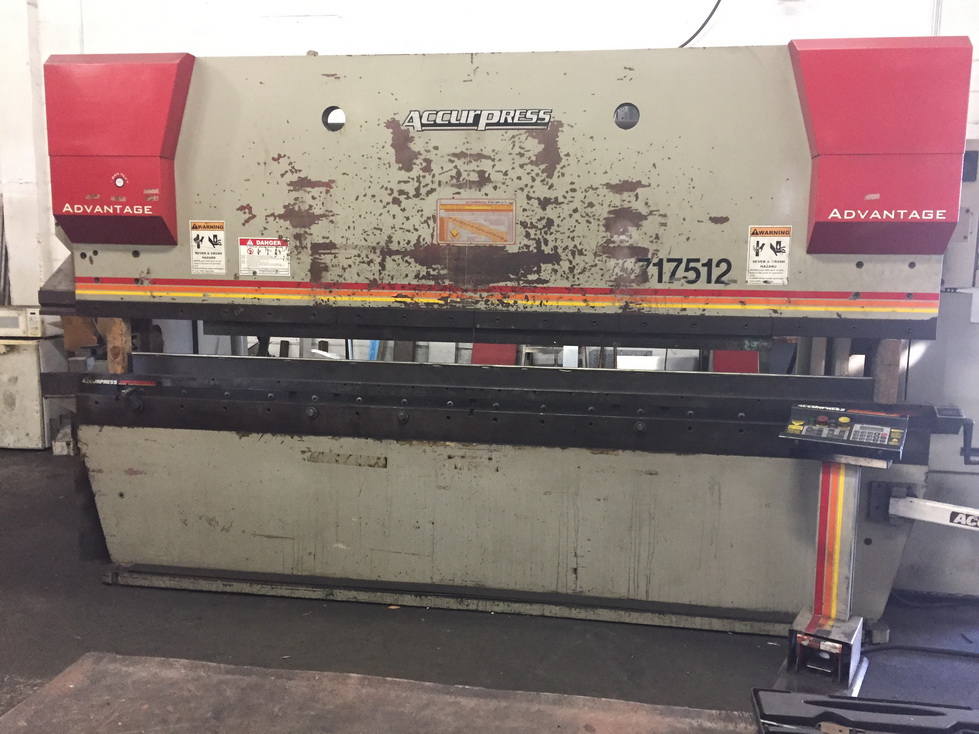 175 Ton x 12' ACCURPRESS 717512 Hydraulic, ETS 3000 5 Axis CNC, Manual Crowning Die Holder, Advantage Package, 2004
