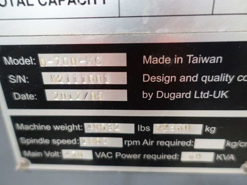 Dugard 700L CNC Lathe (2012)