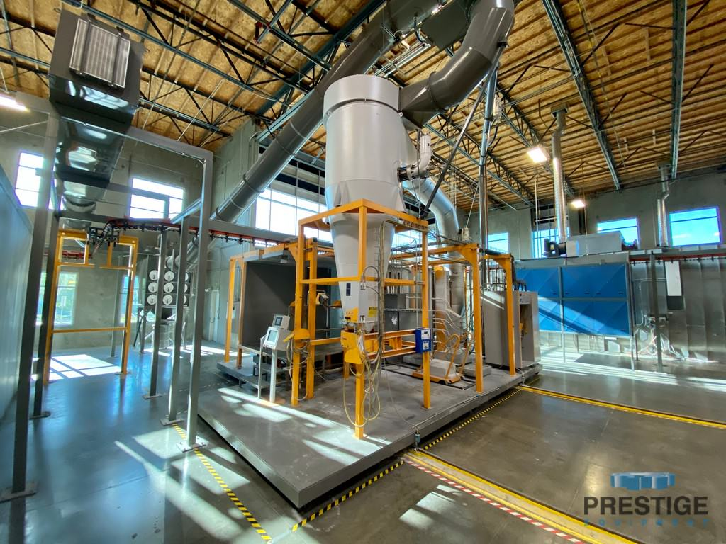 Gema 2-Coat Powder Coat Paint Line, (2) Booths, (7) Stage Wash, Dry/Cure Oven 2012 #31123