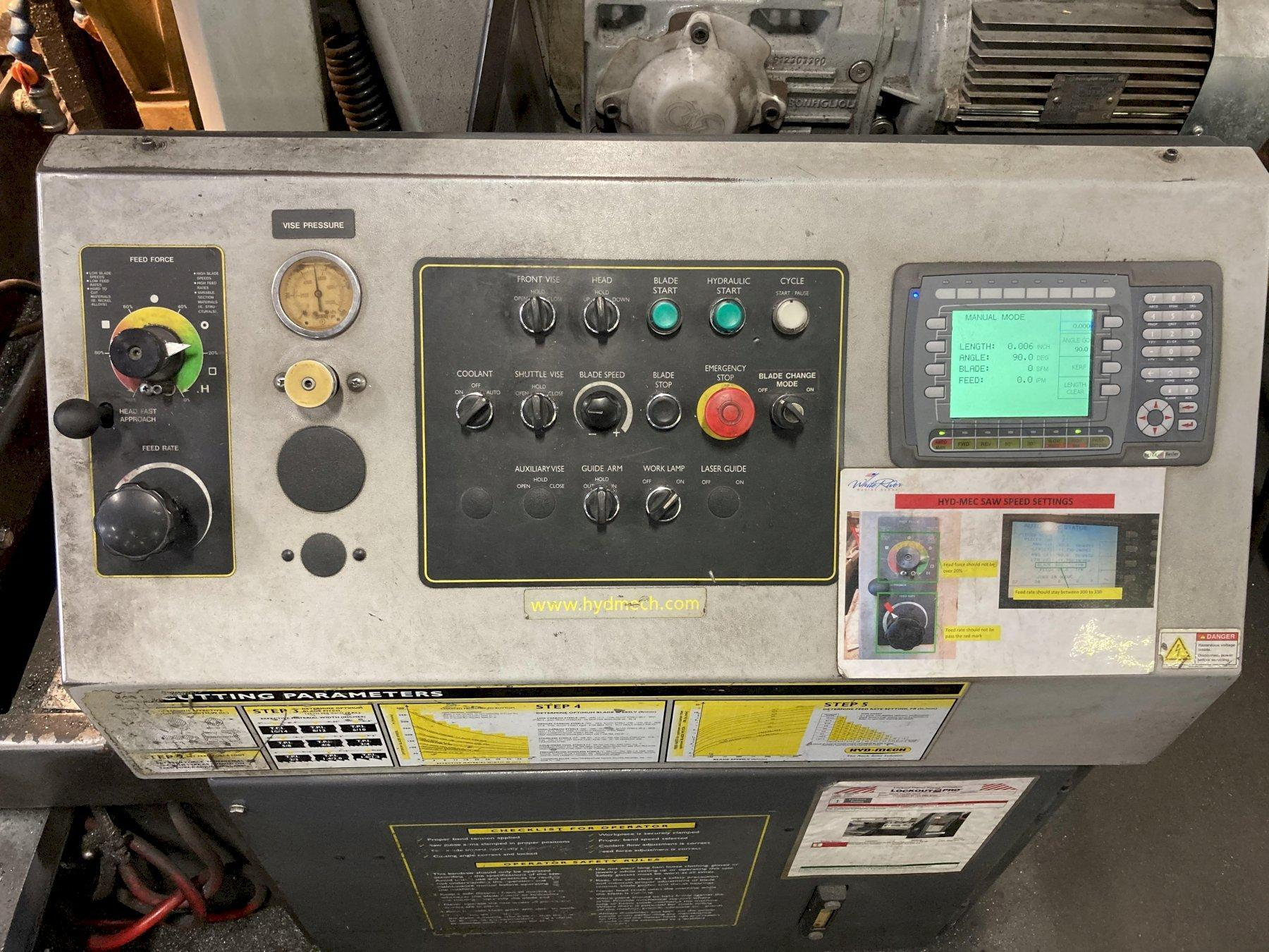 """USED HYD-MECH MODEL M-16A 16"""" X 25"""" FULLY AUTOMATIC MITERING BANDSAW, Stock #10797, Year 2011"""