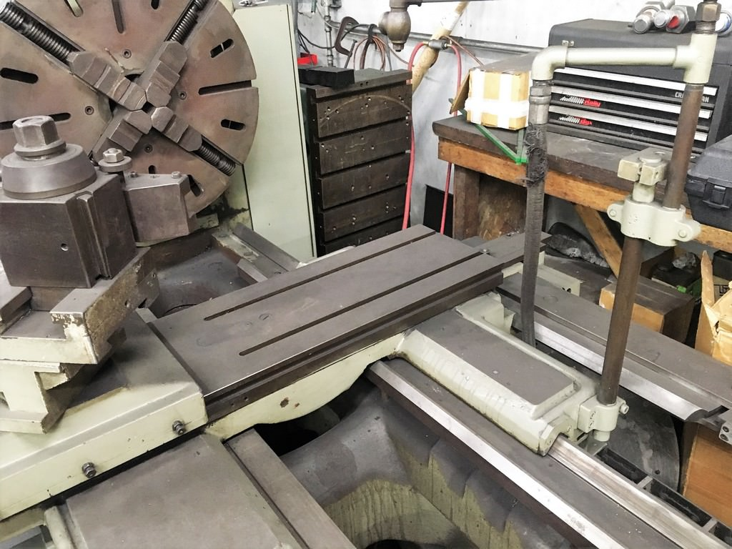 "Mazak Model 34 Gap Bed, 34"" Swing, 100"" C.C, 4"" Spdl Hole, 1200 RPM, Inch Metric Threads, Tailstock, #30603"