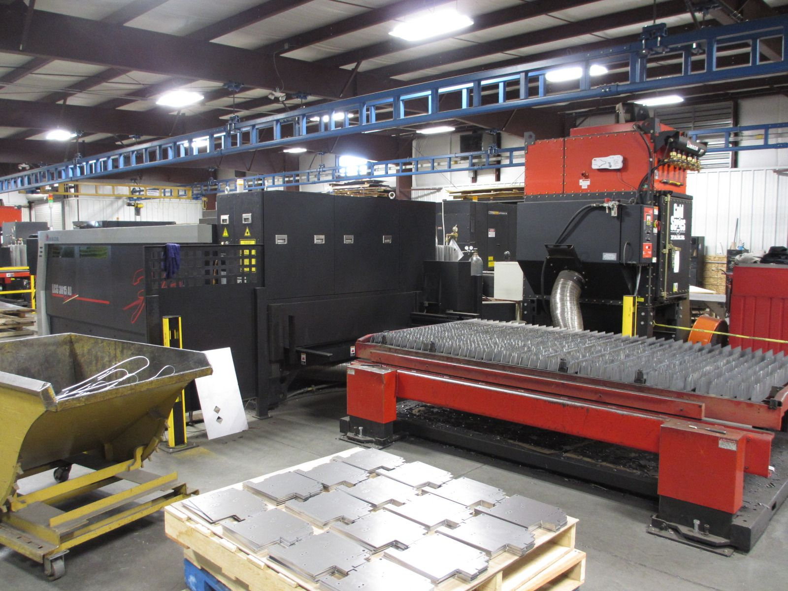 "Amada LCG 3015AJ, 4,000 Watt Fiber Laser, 60"" x 120"" Table, AMNC3 large screen PC control, 12K Power on Hours, Year New: 2015"