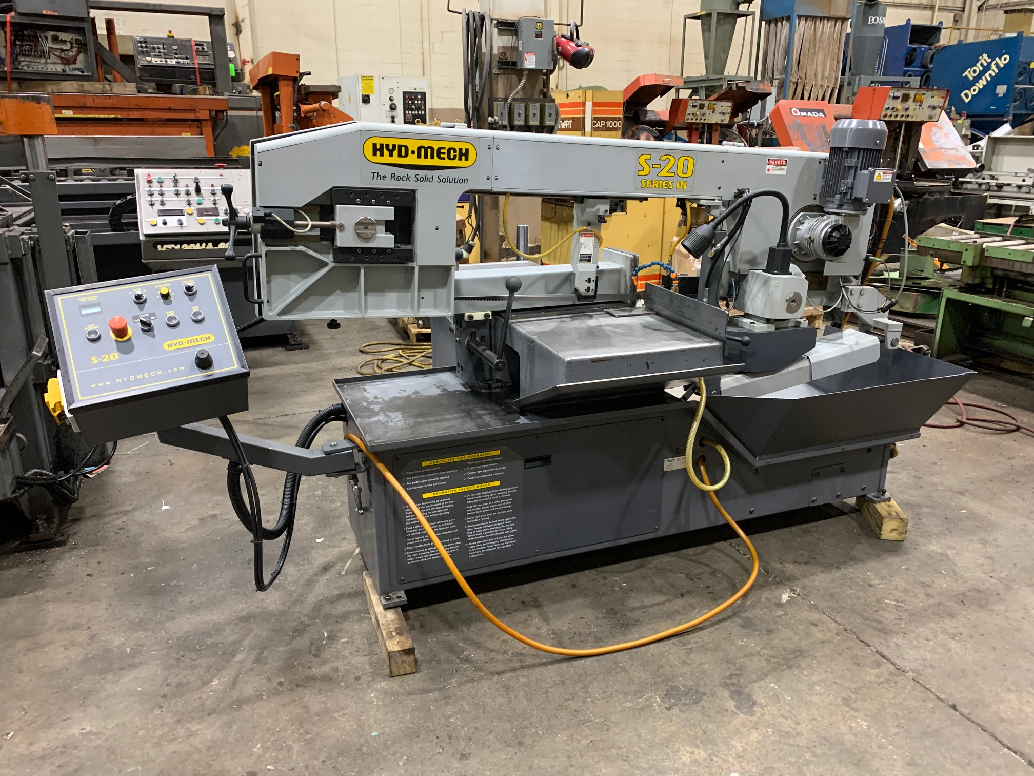 """USED 13"""" X 18"""" HYD-MECH MODEL S-20 SERIES III HORIZONTAL MITERING BANDSAW, STOCK# 10653, YEAR 2012"""